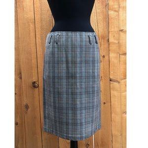 New Prada Plaid/Leather Skirt IT 42 US 6